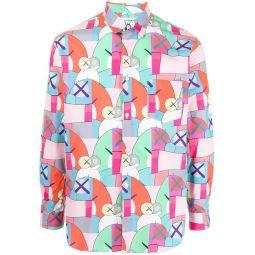 Comme Des Garcons Shirt graphic-print cotton shirt pink