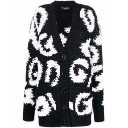 Dolce & Gabbana chunky virgin wool-blend cardigan black