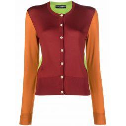 Dolce & Gabbana colour-block silk cardigan red