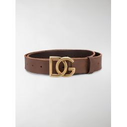 Dolce & Gabbana DG buckle leather belt brown