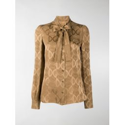 Dolce & Gabbana DG logo jacquard blouse neutrals