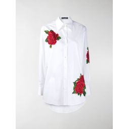 Dolce & Gabbana embroidered rose buttoned shirt white