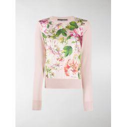 Sale Dolce & Gabbana floral print panel jumper pink