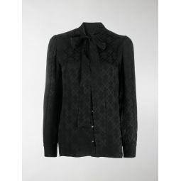 Dolce & Gabbana jacquard logo bow blouse black