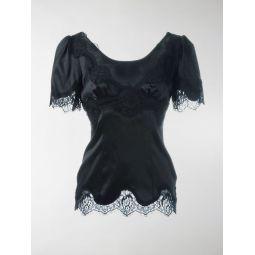 Dolce & Gabbana lace-trim satin top black