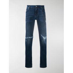 Dolce & Gabbana logo plaque distressed jeans blue