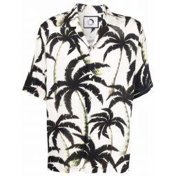 Endless Joy palm-tree print short-sleeve shirt white