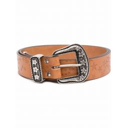 ERL star-embossed leather belt brown