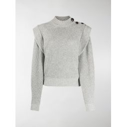 Isabel Marant frilled shoulder high neck jumper grey