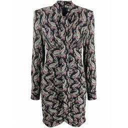 Isabel Marant paisley-print pussy-bow dress black