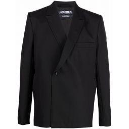 Jacquemus off-centre button blazer black