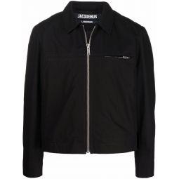 Jacquemus zipped shirt jacket black