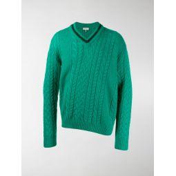Sale LANVIN asymmetric cable-knit jumper green