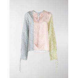 Sale LANVIN panelled floral-print blouse blue