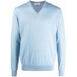 LANVIN V-neck long-sleeve jumper blue