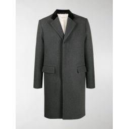 Marni contrast collar single breasted coat grey