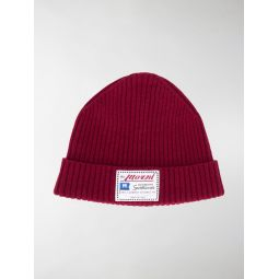Marni logo patch beanie red
