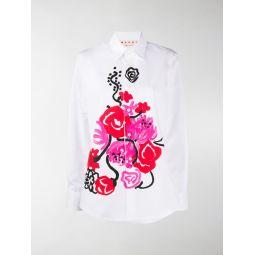 Marni tornado-print cotton shirt white