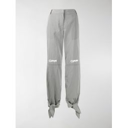 Sale Off-White printed logo tie cuffs trousers grey