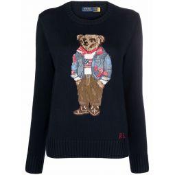Polo Ralph Lauren teddy bear-print knitted jumper blue