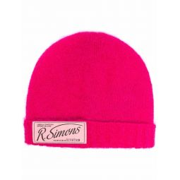 Raf Simons logo-patch knitted beanie pink