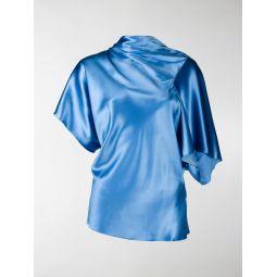 Rick Owens asymmetric satin top blue
