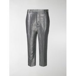 Sale Rick Owens metallic cropped trousers silver