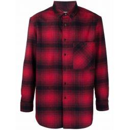 Saint Laurent check-pattern flannel shirt red