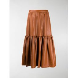 STAUD leather-effect midi skirt brown