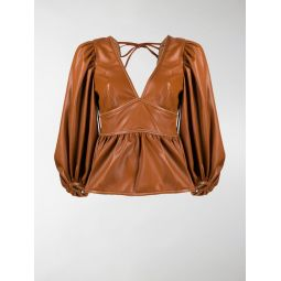 STAUD leather-effect puff sleeves top brown