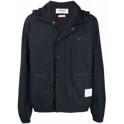 Thom Browne logo-patch hooded jacket blue