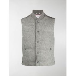 Thom Browne snap button padded gilet grey