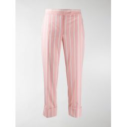 Sale Thom Browne striped straight-leg trousers pink