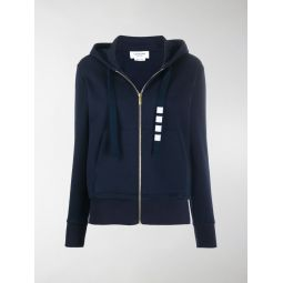 Thom Browne zip up hoodie in compact double knit cotton with 4-bar twill drawcord blue