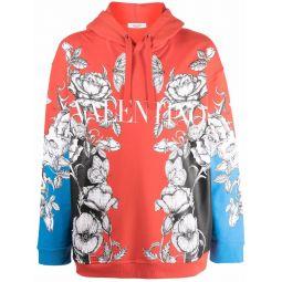 Valentino Dark Blooming print hoodie red