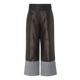 Nerd Cropped Coated Denim Wide-Leg Pants