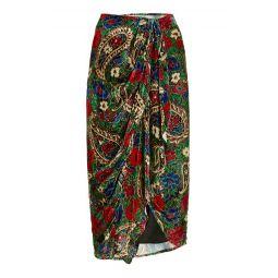 Breenea Printed Velvet Midi Wrap Skirt