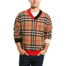 Burberry Check Jacquard Wool V-Neck Sweater