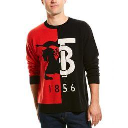 Burberry Contrast Graphic Intarsia Cashmere Crewneck Sweater