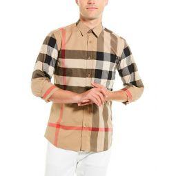 Burberry Check Stretch Poplin Woven Shirt