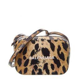 Balenciaga Everyday Leopard Print Leather Camera Bag