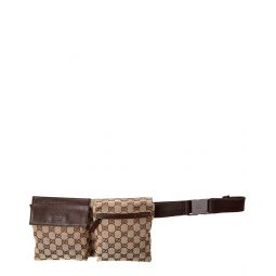 Pre-Owned Gucci Brown Gg Canvas & Leather Waist Pouch