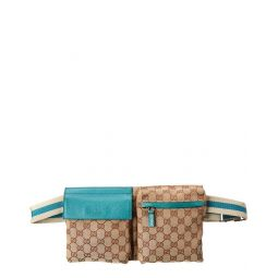 Pre-Owned Gucci Brown Gg Canvas & Blue Leather Waist Pouch