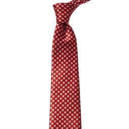 Lanvin Red Geometric Silk Tie