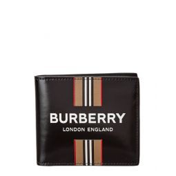 Burberry Logo Icon Stripe Canvas & Leather International Bifold Wallet