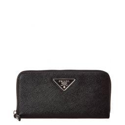 Prada Logo Saffiano Leather Zip Around Wallet