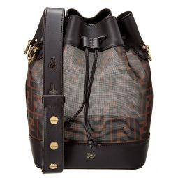 Fendi Mon Tresor Small Tech Mesh & Leather Bucket Bag