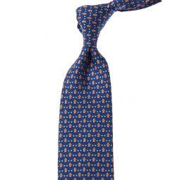 Salvatore Ferragamo Blue Valentines Print Silk Tie