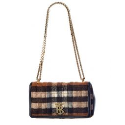 Burberry Lola Small Check Cashmere & Leather Shoulder Bag