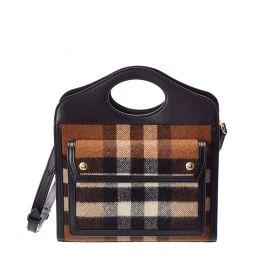 Burberry Mini Check Cashmere & Leather Pocket Bag